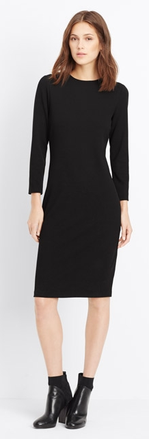 Vince black dress long sleeve boucle