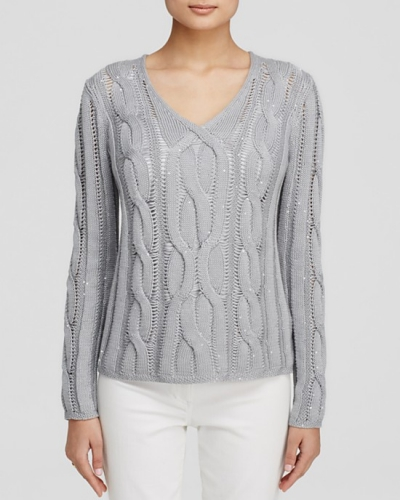 lafayette 148 embellished cable knit sweater