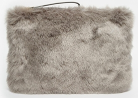 new years faux fur clutch