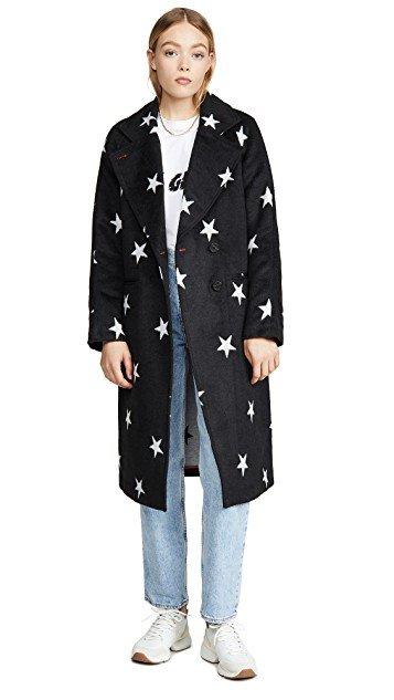 Real Life Style, Women's Coats - Avec Les Filles Double Face Star Print Raglan Coat