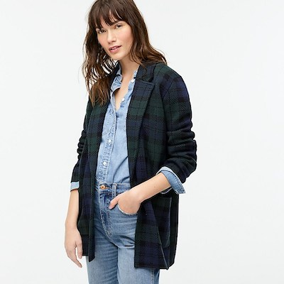Real Life Style - J Crew - Sophie open-front sweater-blazer in Black Watch plaid