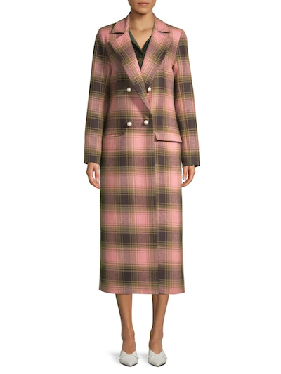 Real Life Style, Women's Coats - Mother of Pearl Mable Wool Plaid Coat