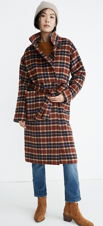 Real Life Style - Madewell - Plaid Long Belted Coat