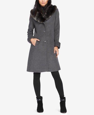 Real Life Style, Women's Coat Standard - Lauren Ralph Lauren Faux-Fur-Collar Walker Coat