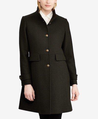 Real Life Style, Women's Coats, Lauren Ralph Lauren Stand-Collar Single-Breasted Walker Coat