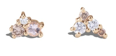 Real Life Style-Bario Neal Burst Cluster Morganite With Diamond Studs