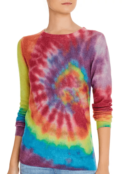 Real Life Style - C By Bloomingdale's Rainbow Tie-dye Cashmere Sweater