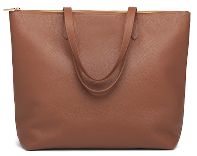 Real Life Style Work Tote Bag, Cuyana Brown Leather Classic Zipper Tote