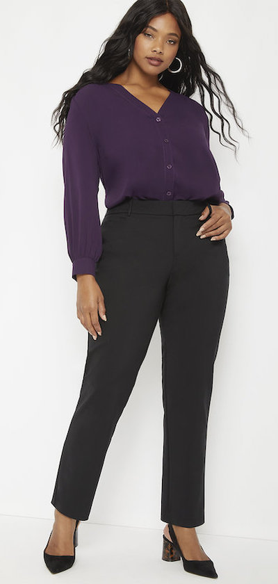 Eloquii Kady fit double-weave trouser, perfect work pants for Real Life Style