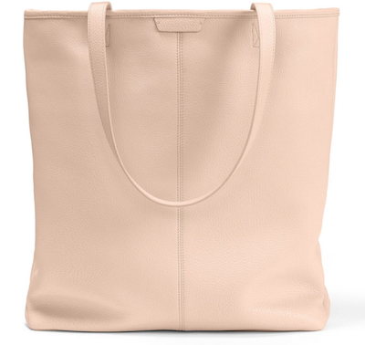 Real Life Style work tote bag, Leatherology uptown vertical tote in blush leather