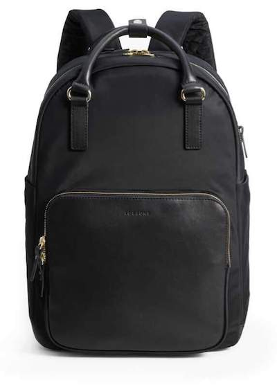 Real Life Style work tote bag, lo and sons rowledge work laptop backpack in black nylon