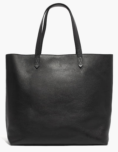 Real Life Style work tote bag, Madewell zip-top transport tote in black leather