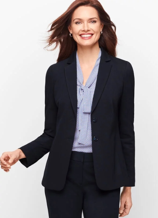 Real Life Style Must Have Comfortable Blazer for Work or Work From Home, Talbots luxe ponte knit two button jacket in black