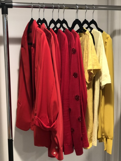 power colors red and yellow on clothing rack wear your power ecourse real life style