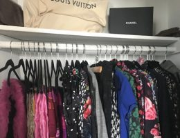 Organized closet with prints and colors