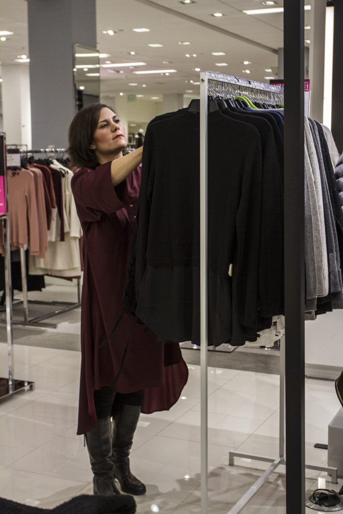 Lani Inlander shopping at a rack in Bloomingdales