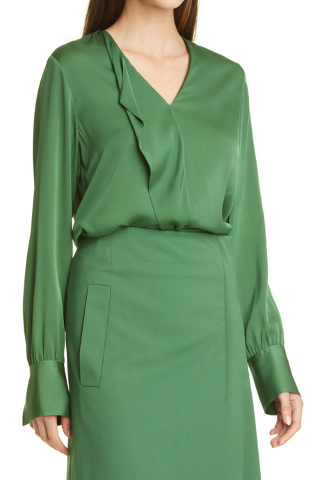 Boss olive green moss silk blouse with ruffle real life style