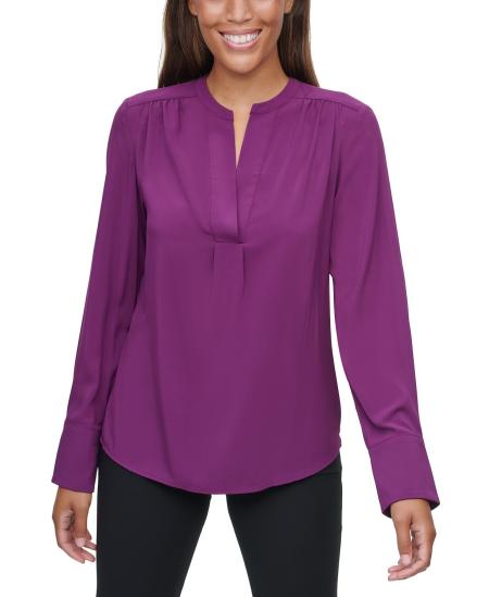 Calvin Klein purple v-neck long sleeve blouse real life style