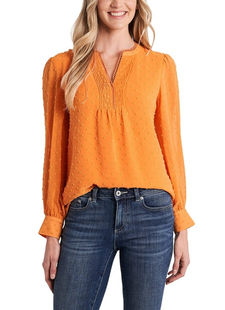 Cece long sleeve swiss dot blouse in orange yellow real life style