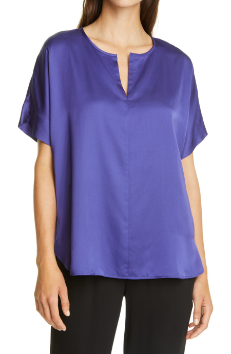 Eileen Fisher silk v-neck short sleeve blouse in purple real life style