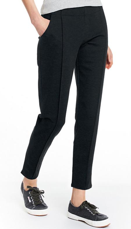 Garnet Hill comfort trousers in heather charcoal slim pant real life style
