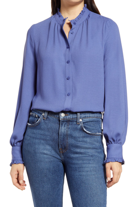 Halogen ruffle collar button down blouse in periwinkle real life style