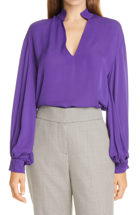 judith and charles nora silk v-neck long sleeve blouse  real life style
