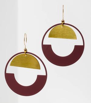 Larissa Loden baltic hoop geometric burgundy earrings real life style