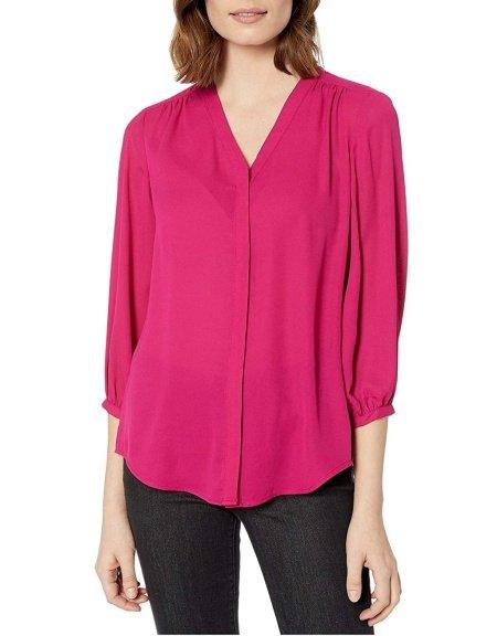 Lauren Ralph Lauren pleated v-neck 3/4 sleeve blouse real life style