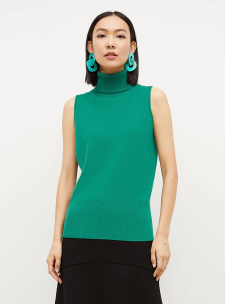 mm.lafleur green cashmere turtleneck sleeveless sweater real life style