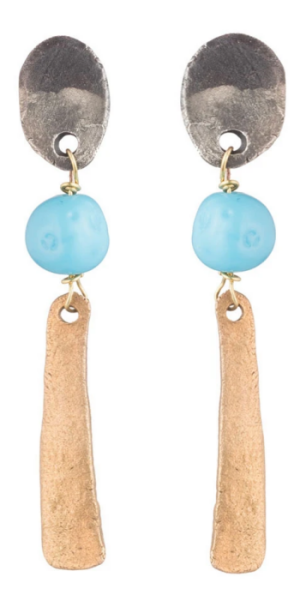 by natalie frigo brass slab and vintage blue glass earrings real life style