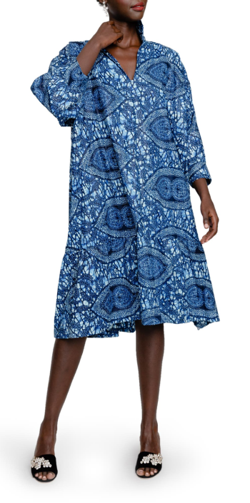 the oula company sophisticate print shift dress in blue wax print for real life style
