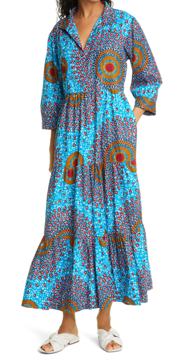 the oula company orange and turquoise african wax printed dress for real life style