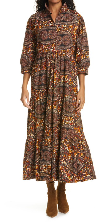 The Oula Company brown african wax print dress for real life style