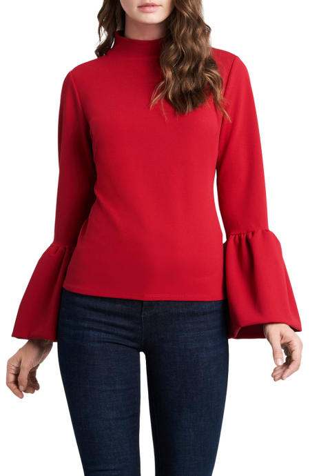 Vince Camuto Lipstick Red bell sleeve mockneck ponte blouse for Real Life Style