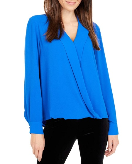 Vince Camuto long sleeve notch collar faux wrap top in turquoise real life style