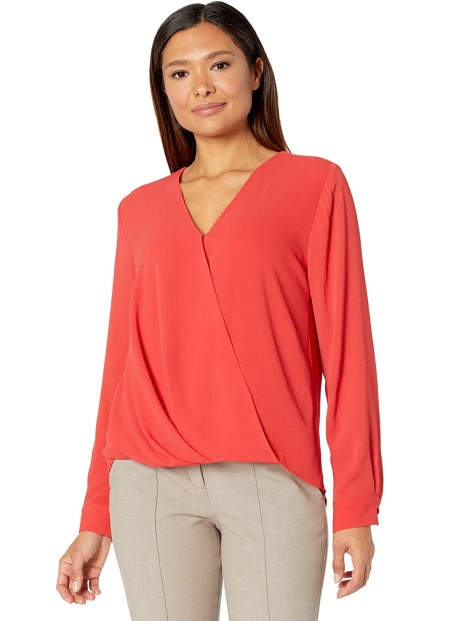 Vince Camuto coral red wrap blouse Real Life Style