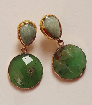 Vivian drew amazonite and chrysoprase green earrings real life style