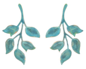 We Dream in Colour verdigris single ophelia earrings in blue leaves real life style