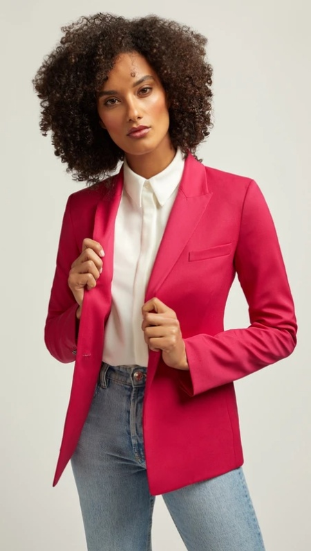 Argent single button blazer in fuchsia, a work wardrobe must-have, a power color for Real Life Style