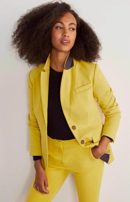 Boden smyth ponte blazer in chartreuse yellow, a power color for Real Life Style