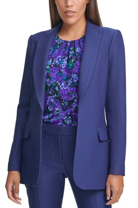 Calvin Klein work wardrobe open blazer in royal purple, a power color for Real Life Style
