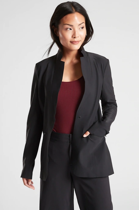 Real Life Style Must Have Comfortable Blazer for Work or Work From Home, Athleta athleisure interstellar black blazer