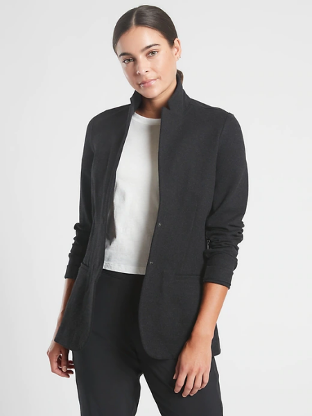 Real Life Style Must Have Comfortable Blazer for Work or Work From Home, Athleta Venice heathered black athleisure blazer