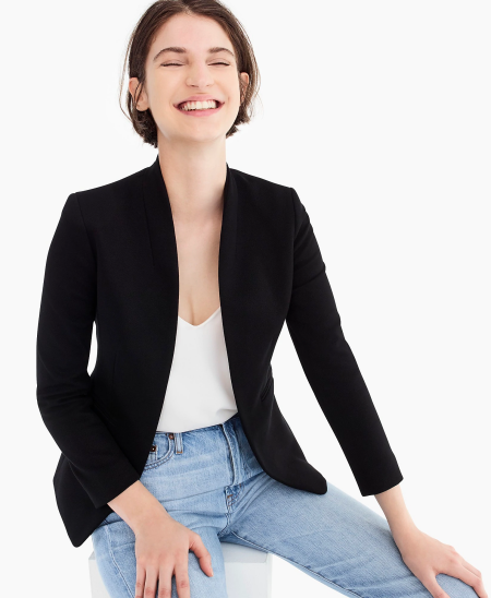 Real Life Style Must Have Comfortable Blazer for Work or Work From Home, J.Crew going out open-front blazer in black