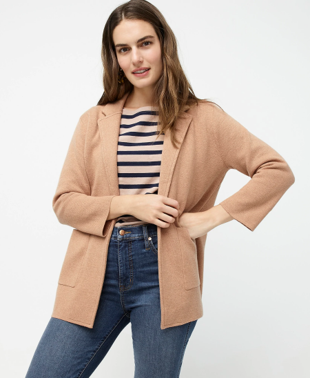 Real Life Style Must Have Comfortable Blazer for Work or Work From Home, J.Crew sophie open-front sweater blazer in camel