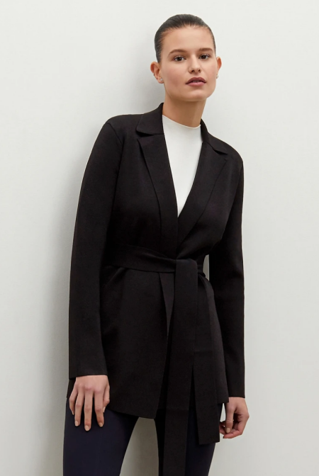 Real Life Style Must Have Comfortable Blazer for Work or Work From Home, MM.LaFleur merritt jardigan in black with belt