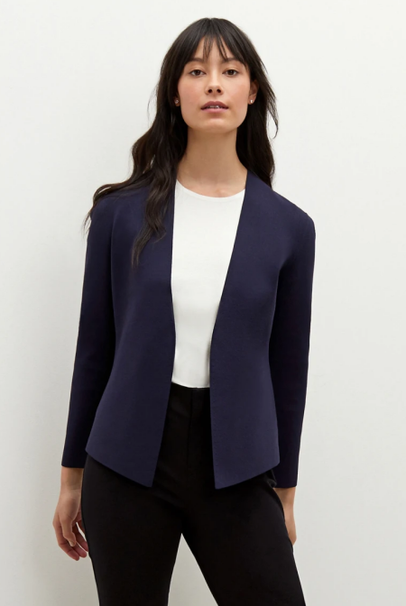 Real Life Style Must Have Comfortable Blazer for Work or Work From Home, MM.LaFleur Woolf navy jardigan