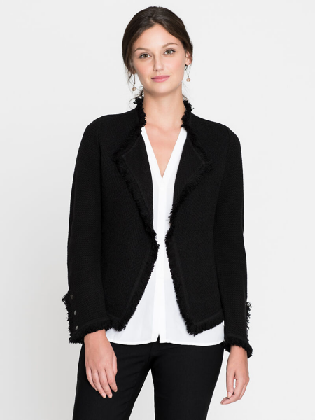 Real Life Style Must Have Comfortable Blazer for Work or Work From Home, Nic and Zoe fringe black jacket