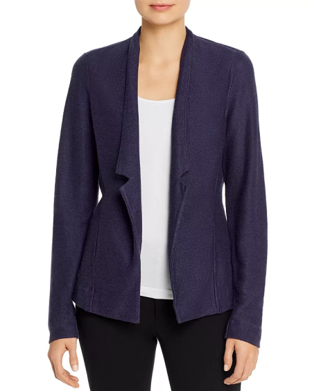 Real Life Style Must Have Comfortable Blazer for Work or Work From Home, Nic and Zoe knit blazer in navy blue